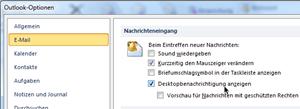 Outlook-Optionen, Bereich E-Mail, Optionsgruppe Nachrichteneingang, Option Desktopbenachrichtigung anzeigen