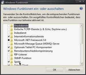 Windows-Funktionen ein- oder ausschalten