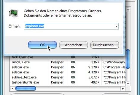 Windows-Explorer manuell neu starten