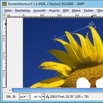 GIMP: Maßband-Werkzeug verwenden