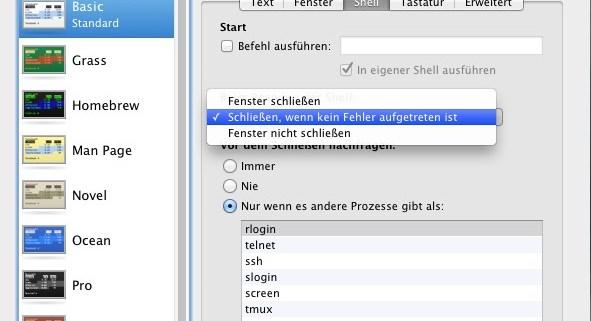 Mac OS X: Terminal beim Beenden schließen