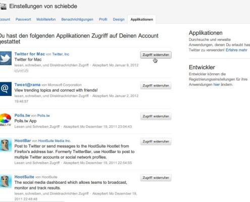 Twitter-Apps: Zugriff widerrufen