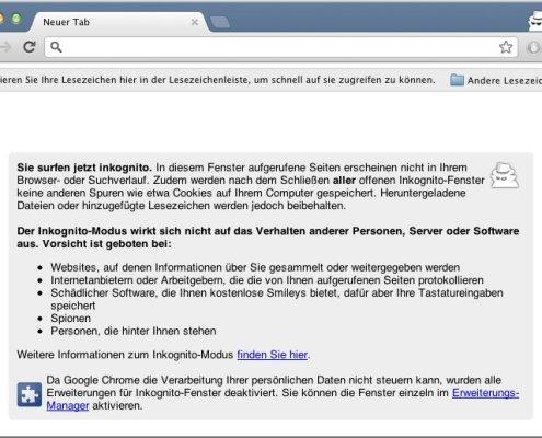 Google Chrome: Inkognito-Modus