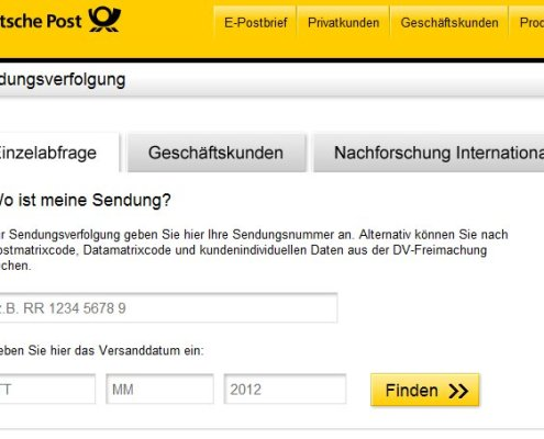 Deutsche Post: Sendungsverfolgung