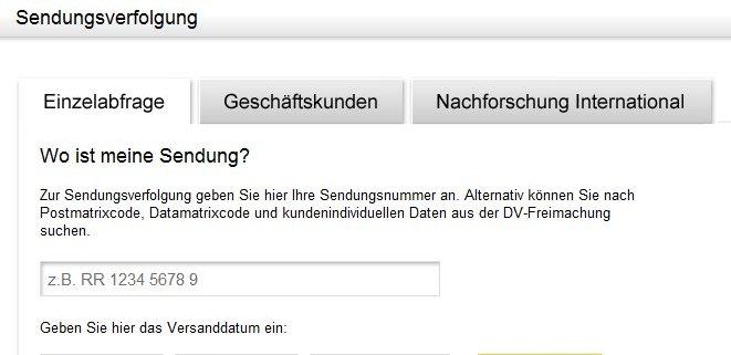 Deutsche Post: Sendungsverfolgung