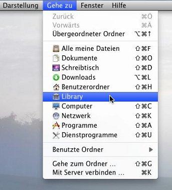 Mac OS Finder: Gehe zu Library