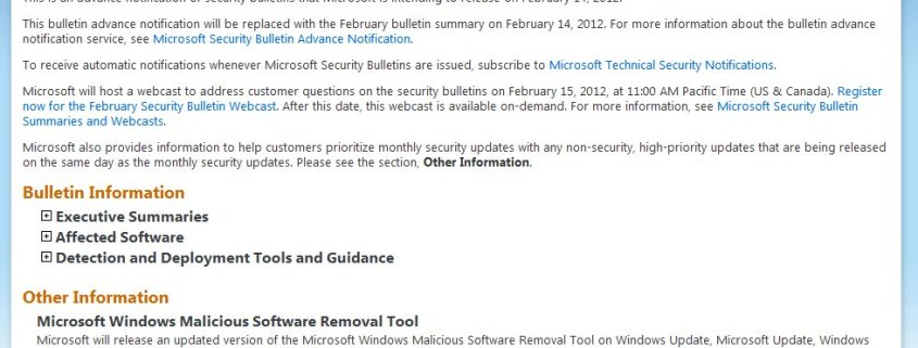Microsoft Security Bulletin Advance Notification Feb 2012