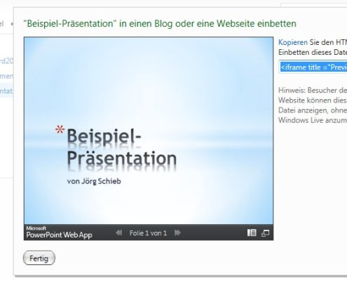 SkyDrive: Office-Dokument in Website einbinden