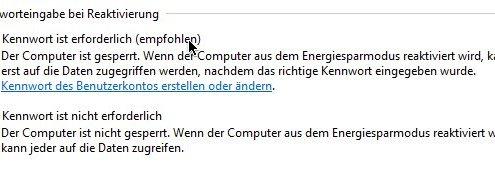 Windows: Kennwort beim Ruhezustand