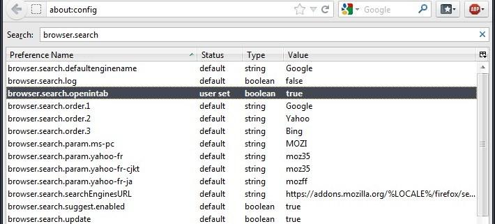 Firefox: Suche im neuen Tab öffnen