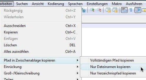 Notepad++: Dateiname oder -pfad kopieren