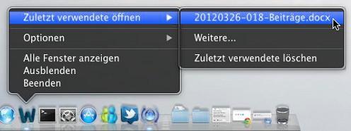OS X Lion-Dock: Zuletzt verwendete öffnen