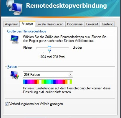 Remotedesktopverbindung: Grafikqualität