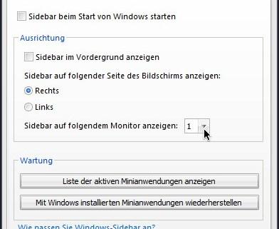 Vista-Sidebar: Monitor auswählen
