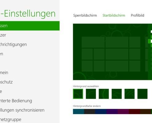 Startbildschirm in Windows 8: Farbschema anpassen