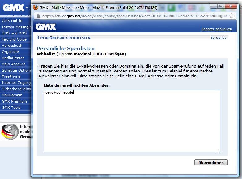 Spamfilter Gmx
