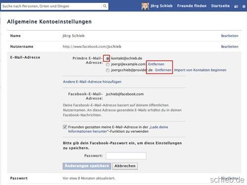facebook-email-adressen-entfernen