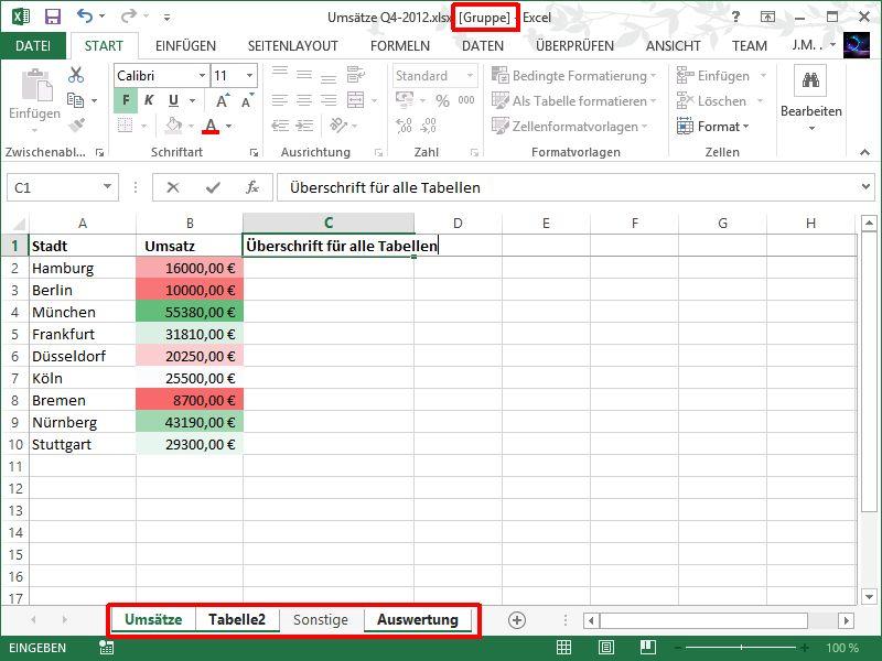 Excel: Zellen auf mehreren Tabellen-Blättern gleichzeitig ausfüllen ...