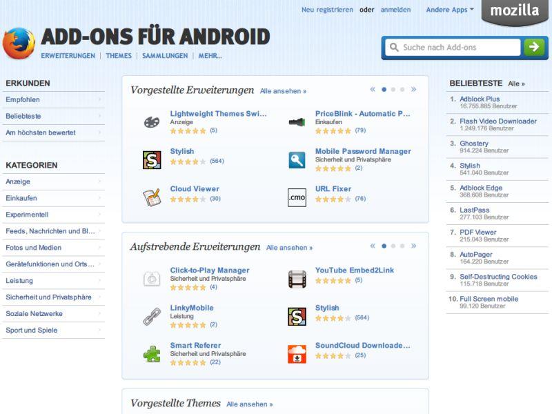 Erweiterungen firefox android browser