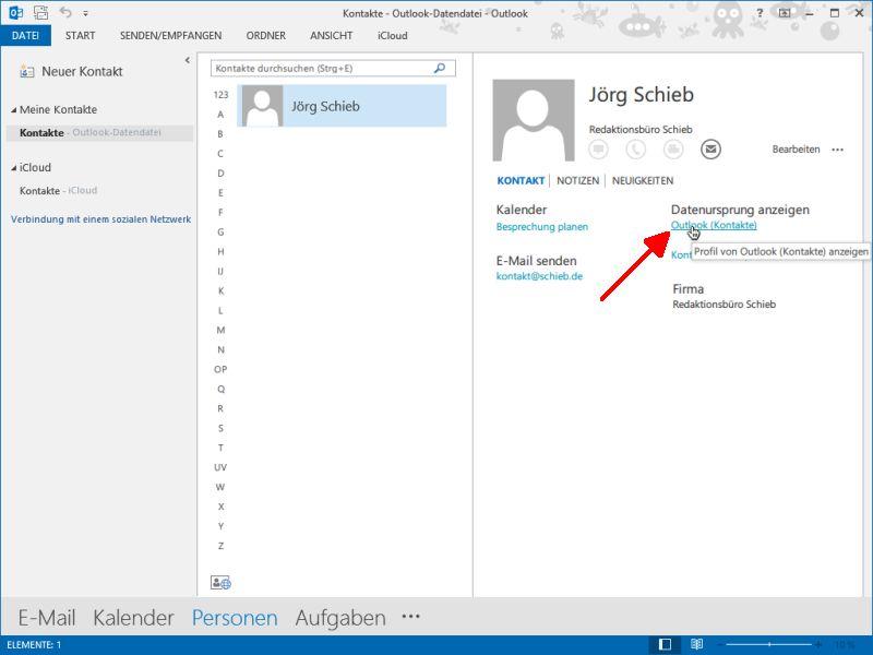 Outlook 2013 So öffnen Sie Die Vollständige Kontakt Ansicht