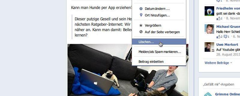 Beitrag Bei Facebook Löschen