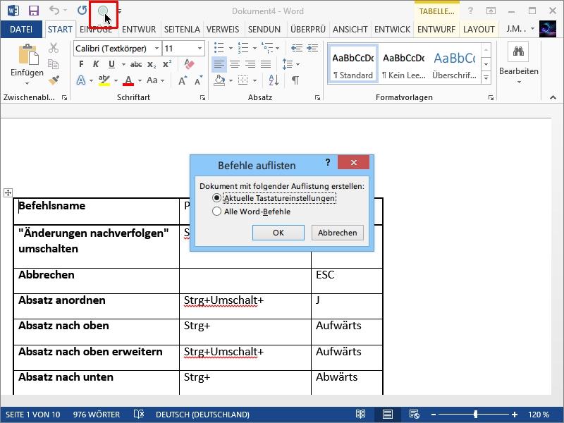 Microsoft Word: Auflistung aller Befehle anzeigen | schieb.de