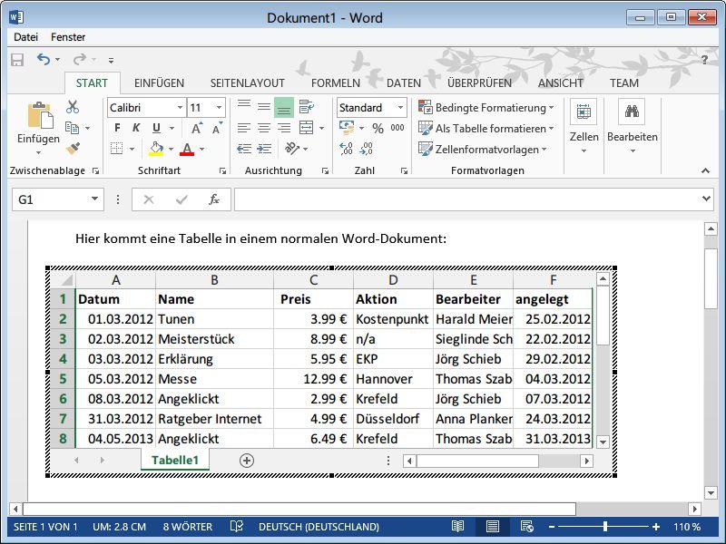 So fügen Sie eine Excel-Tabelle in ein Word-Dokument ein | schieb.de