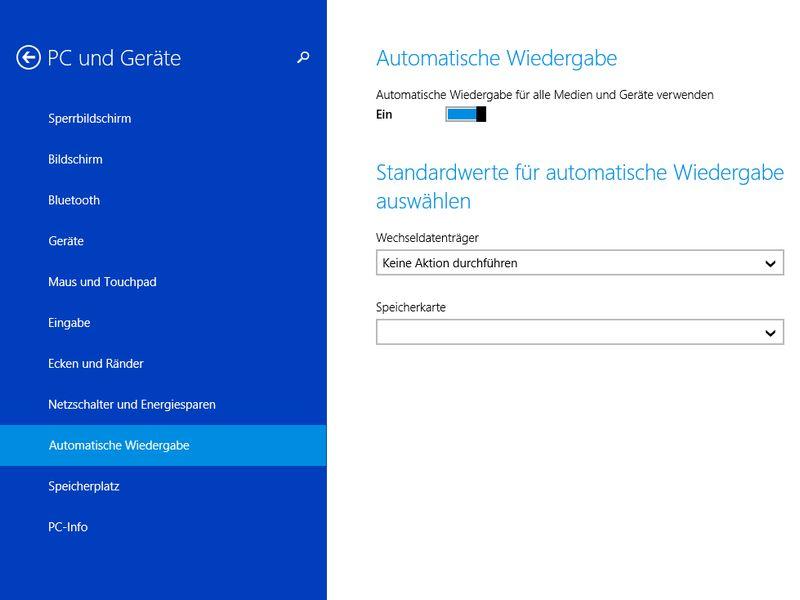Windows 81 Autoplay Nachfrage Wiederherstellen Schiebde
