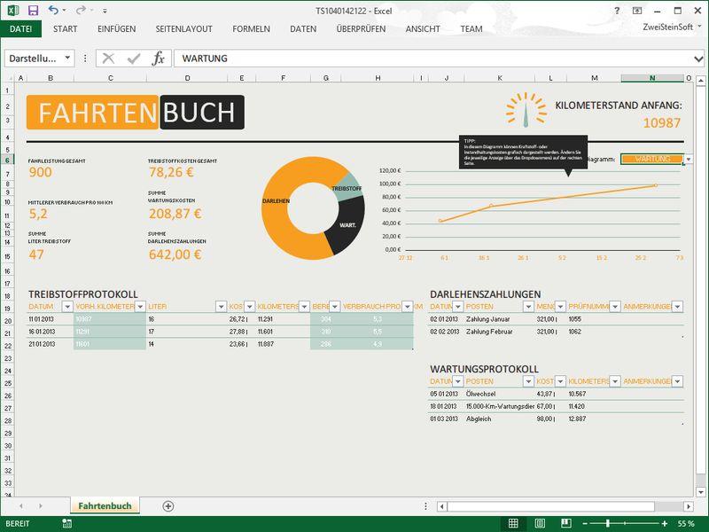 Gratis-Excel-Vorlage: Fahrtenbuch am PC führen | schieb.de