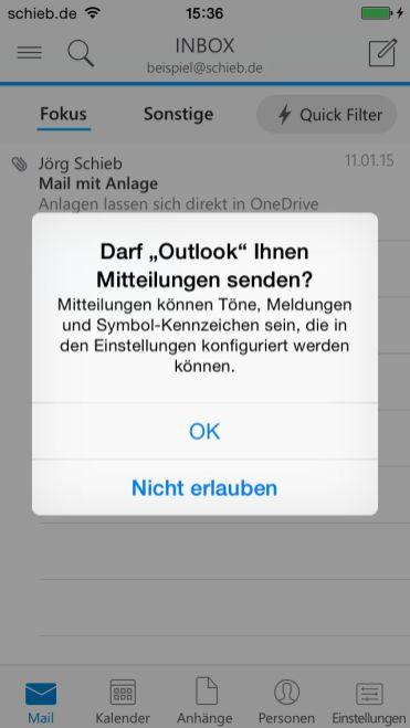 Mitteilungen für Outlook erlauben