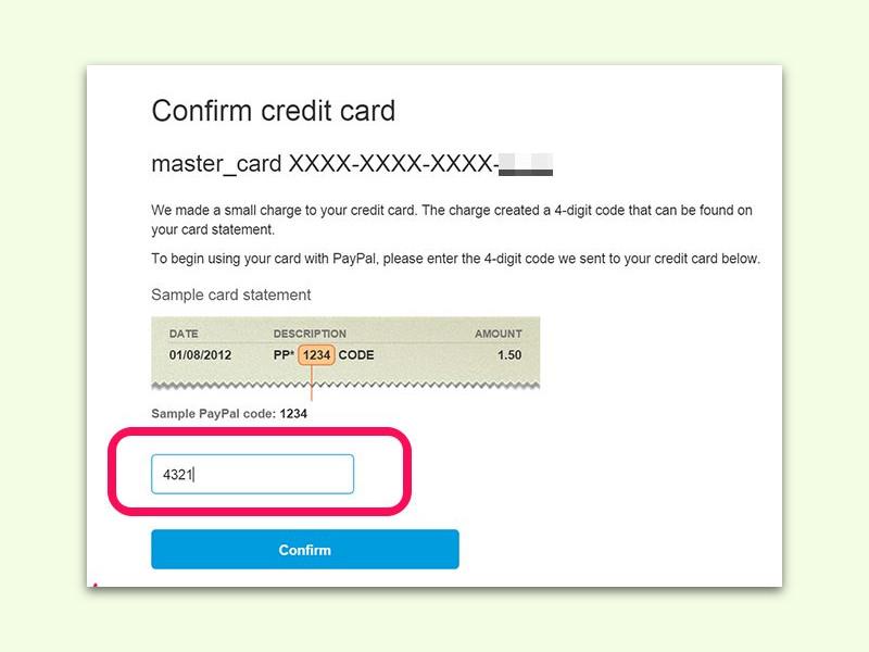 paypal konto bestätigen code