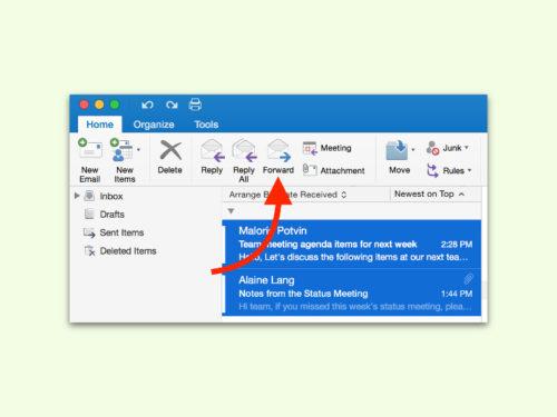 outlook-mehrere-emails-weiterleiten