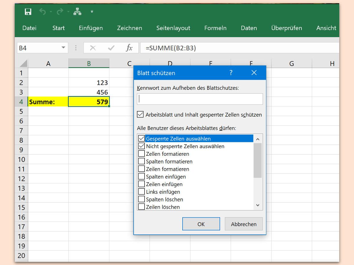 Excel-Zellen mit Formeln schützen | schieb.de