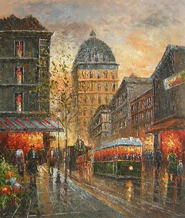 Schilderij Stad met tram