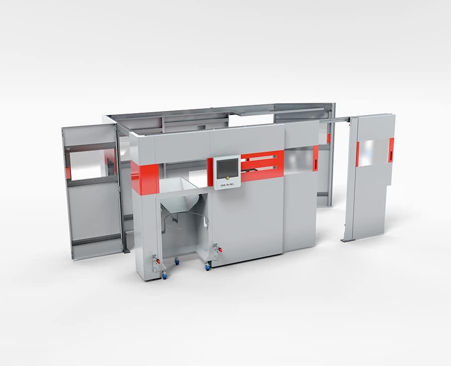 Spritz-Streck-Blasen Kunststoff-Fertigungsanlage - Die Maschinenverkleidung für Spritz-Streck-Blasen Kunststoff-Fertigungsanlagen ist mit Halterungen für die Sicherheitstechnik, für Rohstoff-Beschickungssysteme und Entladelösungen für Fertigprodukte ausgestattet.
