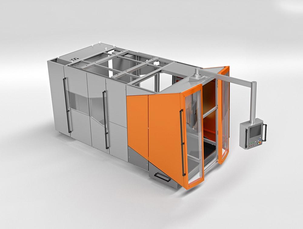 Lineare Streckblasmaschine - Lineare Streckblasmaschine mit speziellen, steifen Türen, integrierten Fenstern und Schaltschränken sowie einer kinematisch - mechanischen Lösung der vertikalen Wartungsöffnung.