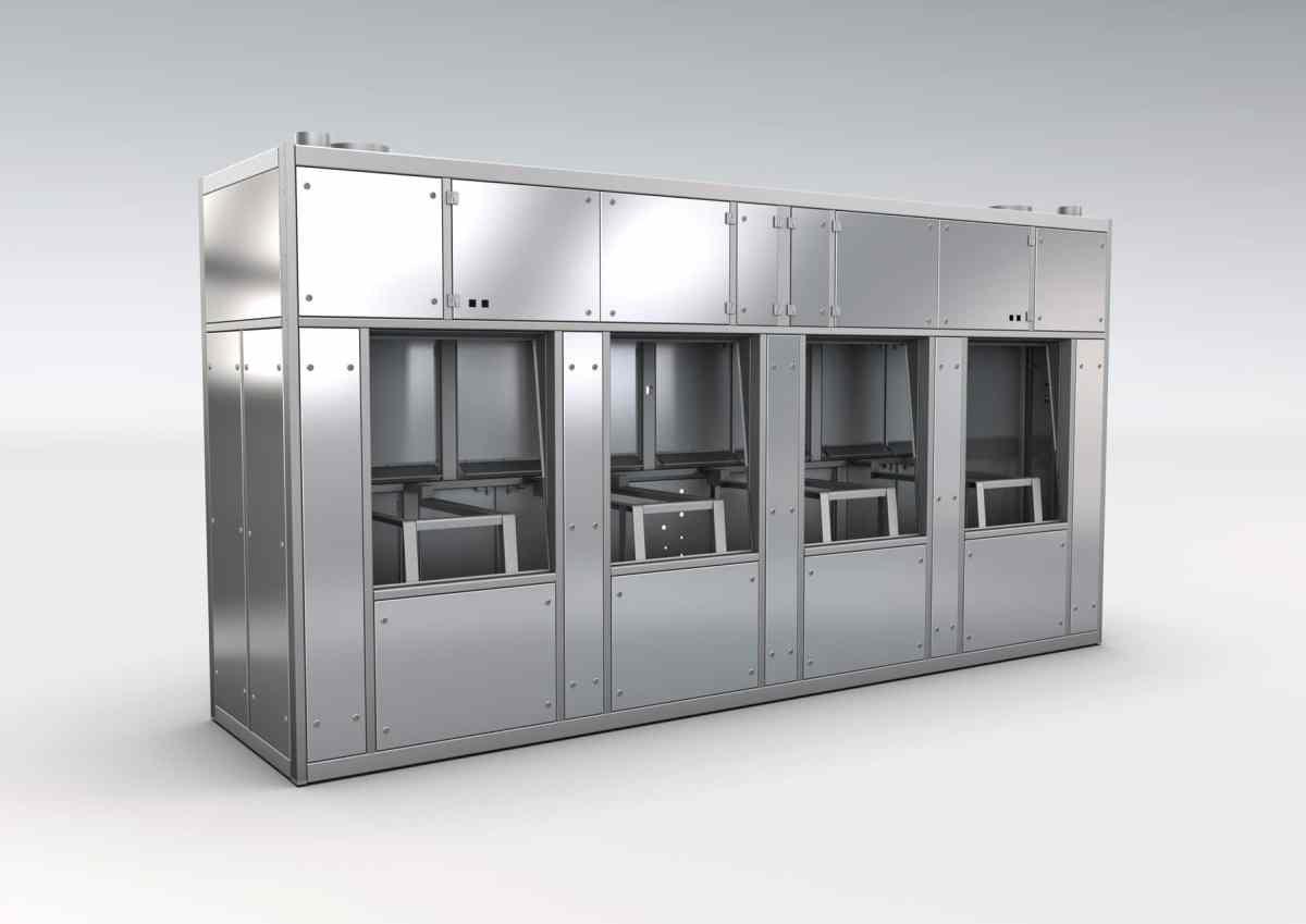 Wafer Produktionsanlage / Halbleiterfertigungsanlage - Wafer Produktionsanlage / Halbleiterfertigungsanlage mit Rahmenstruktur aus Niro und Türen, Verkleidung und Innenwannen aus hochpoliertem Spiegelblech.