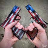 dual american flag pistols