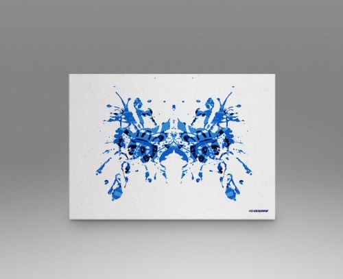Blue rorschach test print