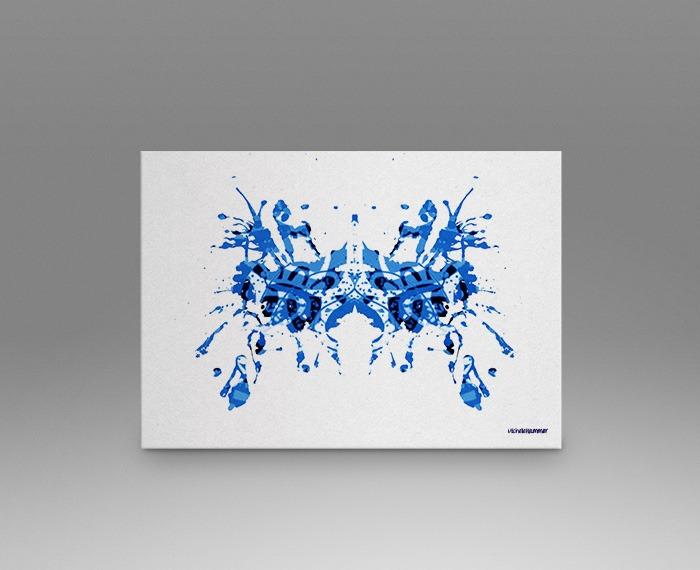 Blue rorschach test print