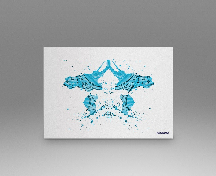 Turquoise rorschach test print