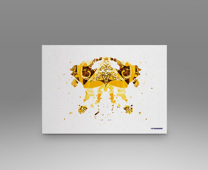 Yellow rorschach test print