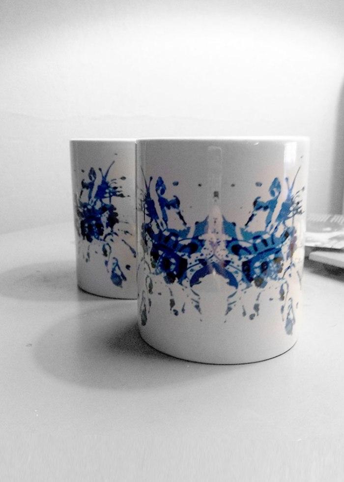 Blue Rorschach Test Ink Blot Mugs 2