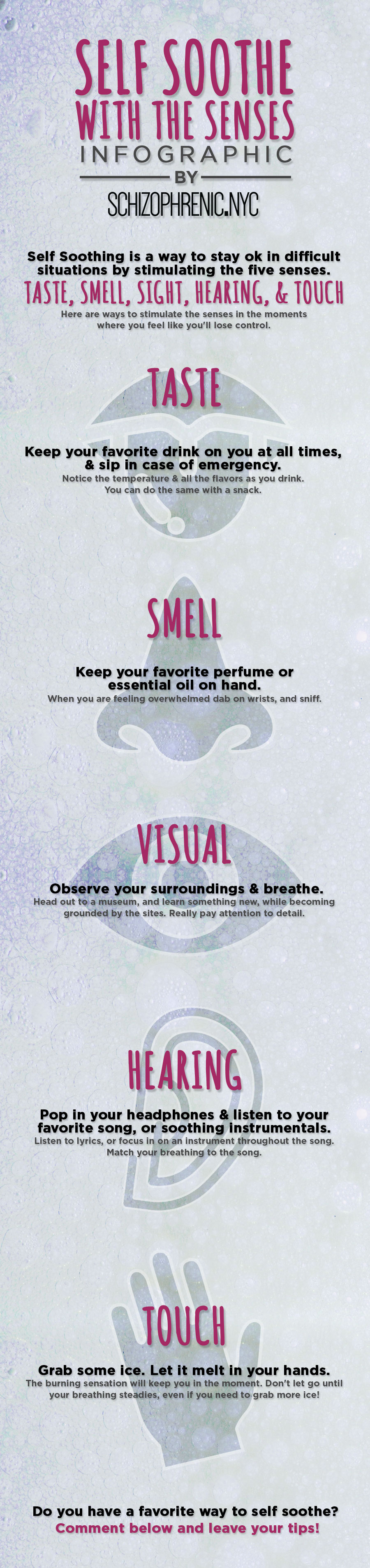 Self soothe with the five senses infographic 1