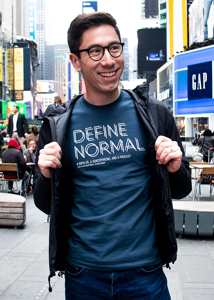 Define normal t-shirt by schizophrenic. Nyc. Worn by rob of living well with schizophrenia