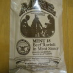 2019年検品:MRE メニューNO18 BEEF RAVIOLI IN MEAT SAUCE