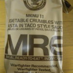 2019年検品:MRE メニューNO11 VEGETABLE CRUMBLE WITH PASTA IN TACO STYLE