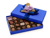 24 piece Luxury Gift Box in Blue with blue bow and lavender floral Bow