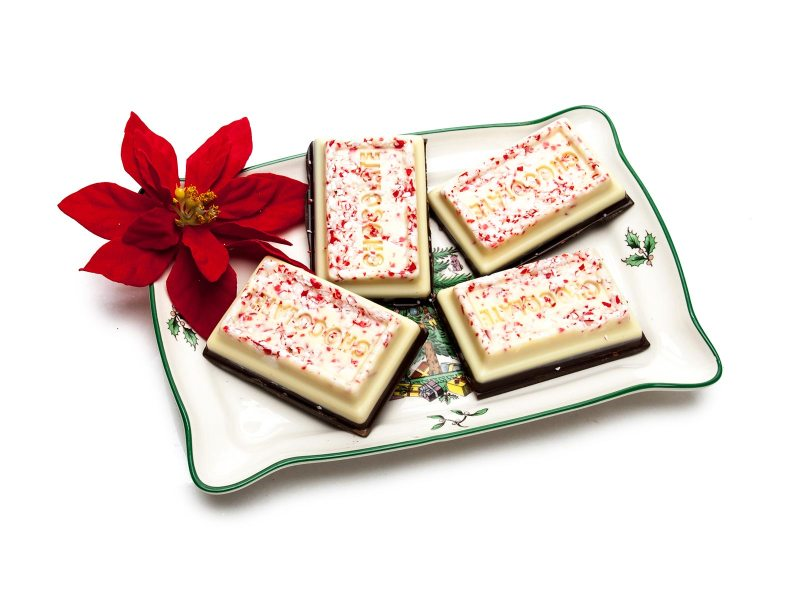 Peppermint Bark With a Dark Chocolate Base, White Chocolate Topp