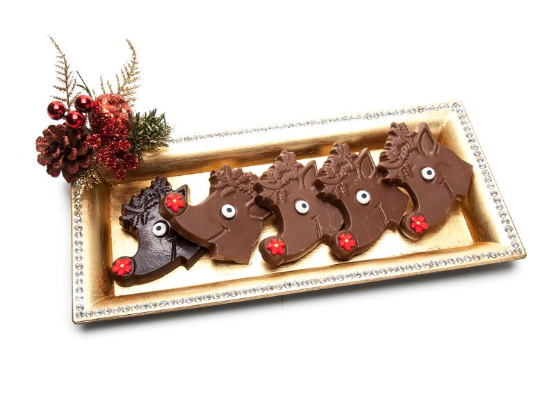Solid Chocolate Rudolph Decorated with a Bright Red Nose and Eye
